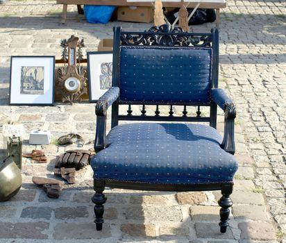 Antique blue armchair