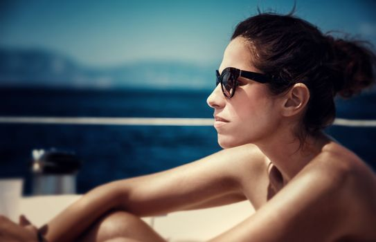Beautiful female on the yacht