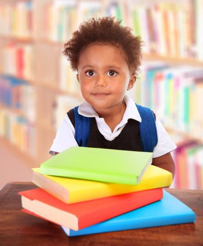Schoolboy in library