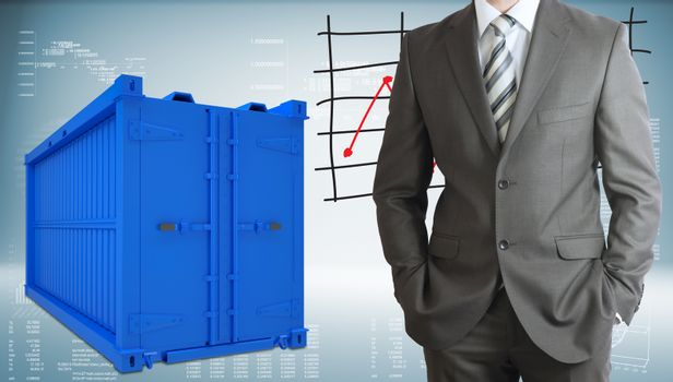 Businessman with freight shipping container