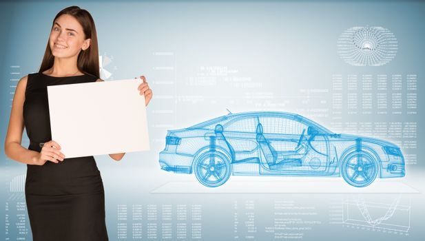 Businesswoman holding paper holder. High-tech wire-frame car and graphs as backdrop