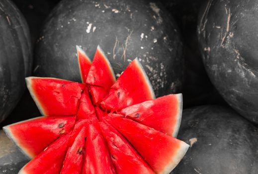 Close-up of cut watermelon, Colorkey