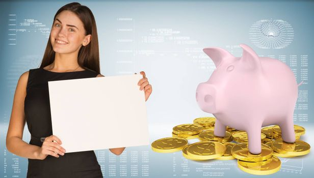 Businesswoman hold white paper. Piggy bank with gold coins. Graphs and texts as backdrop