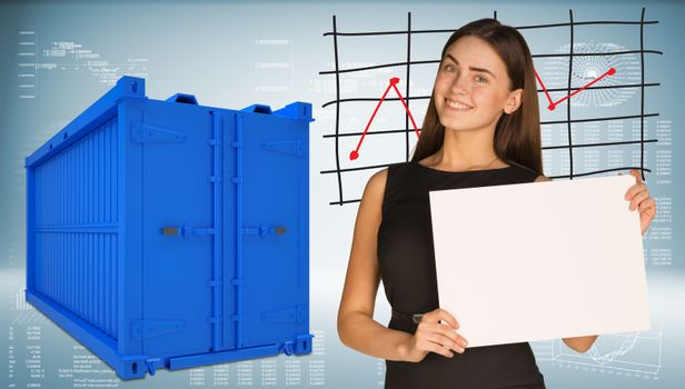 Businesswoman with freight shipping container