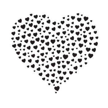 the heart shape made out of small black hearts