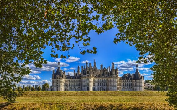 The famous Chambord Castle located in the Loire Valley, in a summer day, framed by beautiful green trees from the hunting ground where it was built.HDR image.