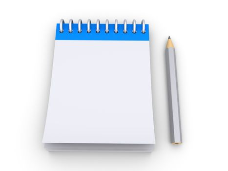 3d empty notepad with a pencil next to it