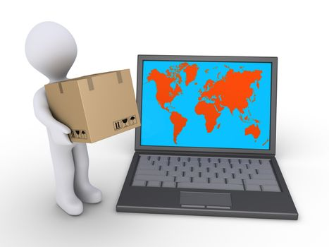 3d person holding a cardboard box is beside a laptop with the world map