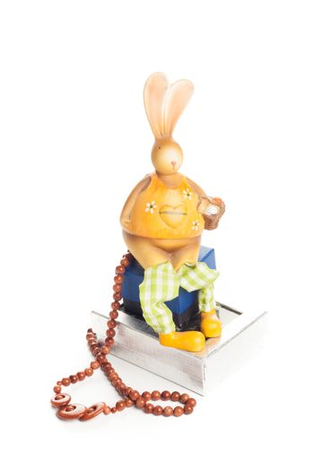 wood necklace with bunny