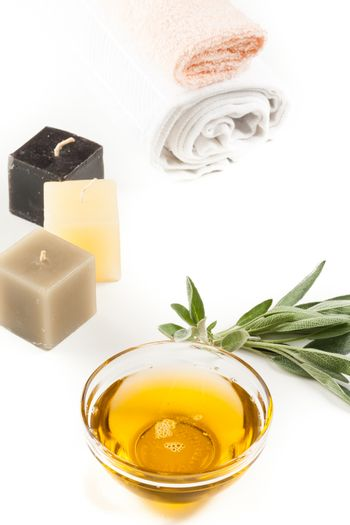 aromatherapy oil and candles