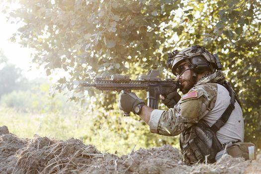 american soldier shooting