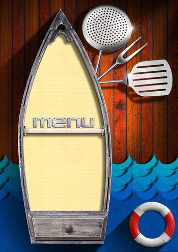 Wooden background with small boat with yellow empty pages, red and white lifebuoy, kitchen utensils and stylized waves. Template for recipes or seafood menu