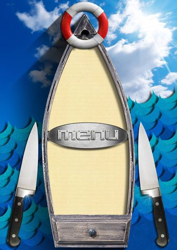 Small boat with yellow empty pages, metal label, red and white lifebuoy, kitchen knives on blue sky and stylized waves. Template for recipes or seafood menu