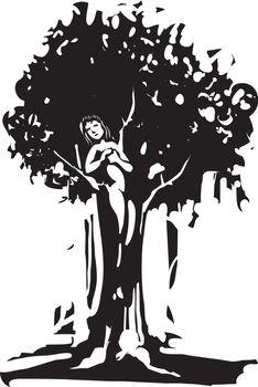 Woodcut style image of the Dryad tree spirit from Greek myth.