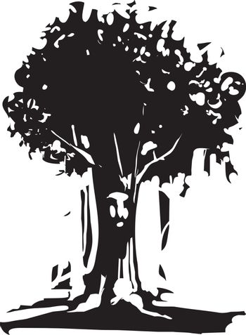 Woodcut style image of tree with a face on the trunk