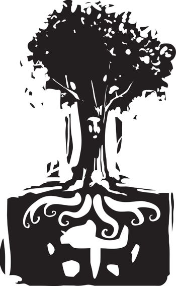 Woodcut style image of a tree with a face where roots grow out of mans head.