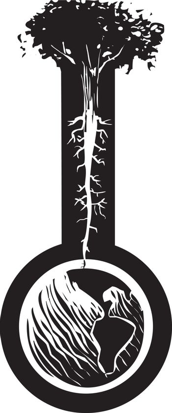 Woodcut style image of a tree with roots like nerve endings growing out of the globe of the earth.