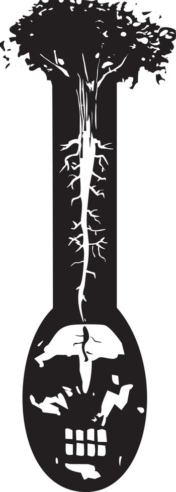 Woodcut style image of a tree with roots like nerve endings growing out of a mans head.