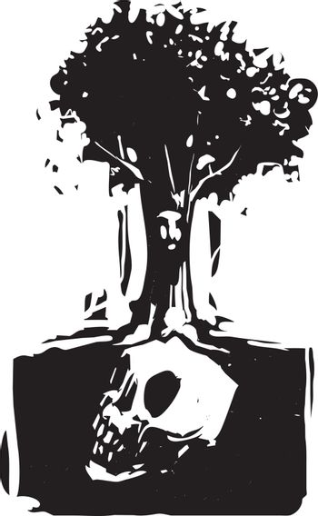 Woodcut style image of a tree with a face where roots grow around a buried giant skull