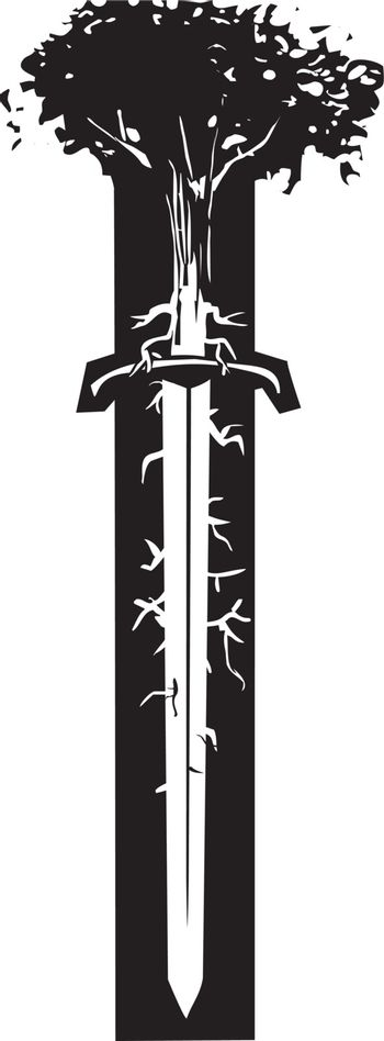 Woodcut style image of a tree with roots like nerve endings growing out of the blade of a sword.