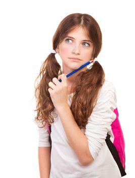Smart thoughtful girl on exam