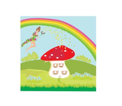 funny cartoon mushroom house and beautiful fairy