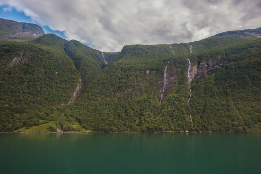 View over the fjord Geiranger fjord in Norway
