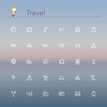 Travel and tourism line Icons set. Vector illustration.