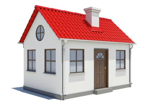 Small three-dimensional house with red roof