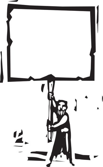 Woodcut style image of a bearded man holding a blank sign.