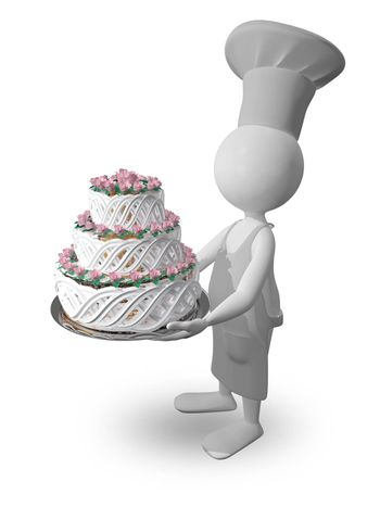 abstract illustration a chef with a cake on a tray