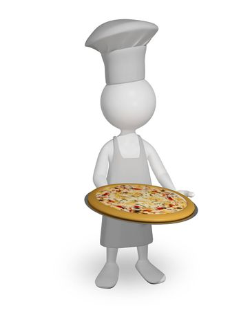 abstract illustration a chef with pizza on a tray