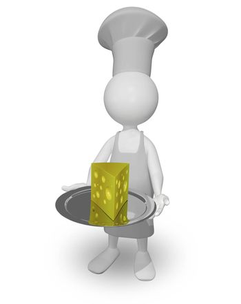 abstract illustration a chef with a cheese on a tray