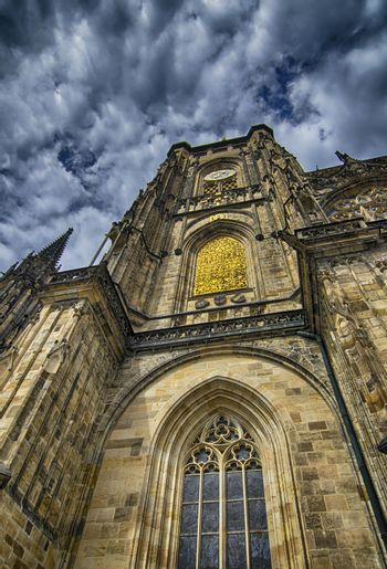 Typical ancient medieval architecture in Prague