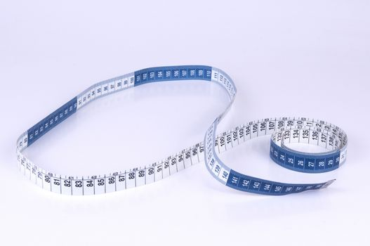 Blue and White Measuring tape on white background