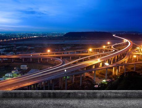 Highway in night