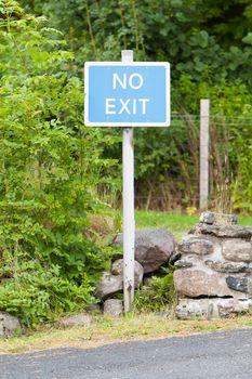 Blue No Exit sign