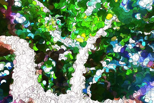 Tree leaves abstract painting