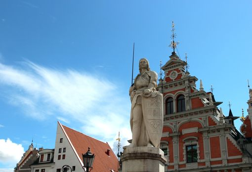 Monument of Roland in Riga in the old town square, Latvia