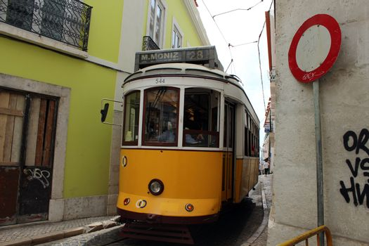 Classic yellow tram of Lisbon, Portugal