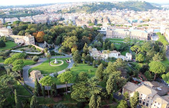 Aerial view of Vatican Gardens, Rome