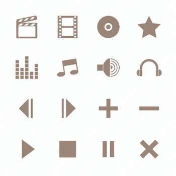 Media player icons , Brown color
