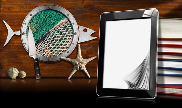 Tablet computer with blank pages and books on wooden wall with metal porthole fish shaped, seashells, starfish and kitchen knife. Template for recipes or seafood menu