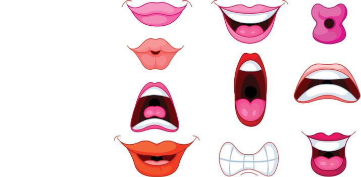 Set of different human mouth and lips