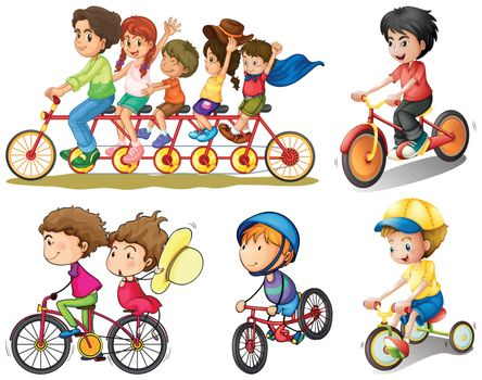 Illustration of a group of people biking on a white background