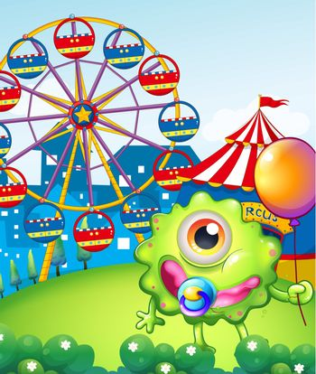 A young one-eyed monster holding a balloon near the carnival
