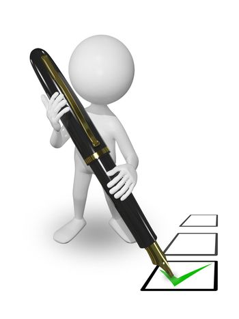 illustration abstract white man with pen puts a tick
