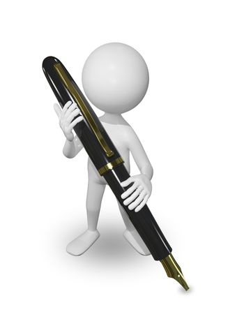illustration abstract white man with a pen