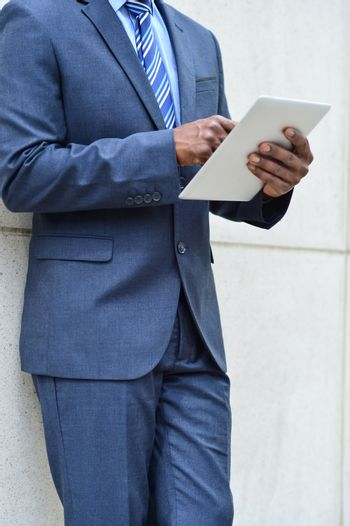 Hands of the businessman using a tablet PC