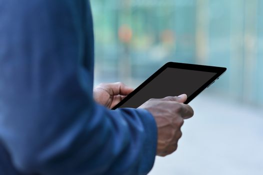 Executive hand carrying tablet pc